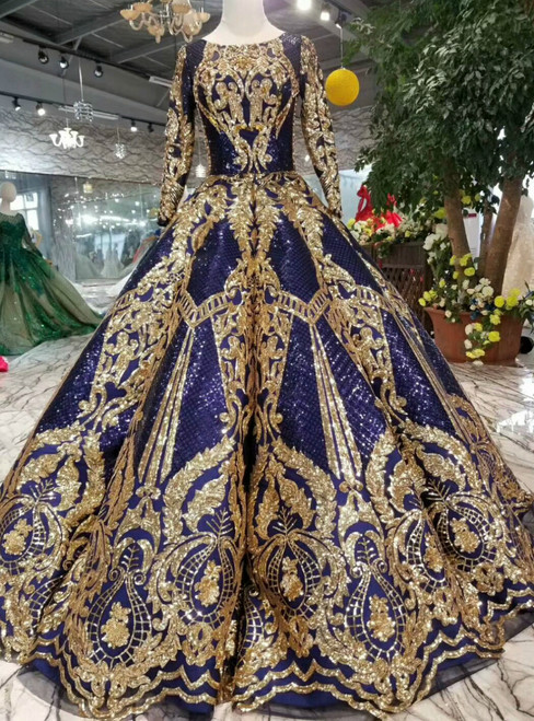 Blue Ball Gown Sequins Gold Sequins Appliuqes Long Sleeve Wedding Dress