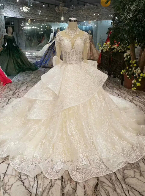 Champagne Ball Gown Lace High Neck Half Sleeve Backless Wedding Dress With Beading