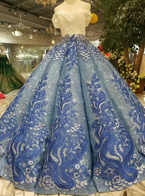 Blue Ball Gown Sequins Off The Shoulder Appliques Wedding Dress With Beading