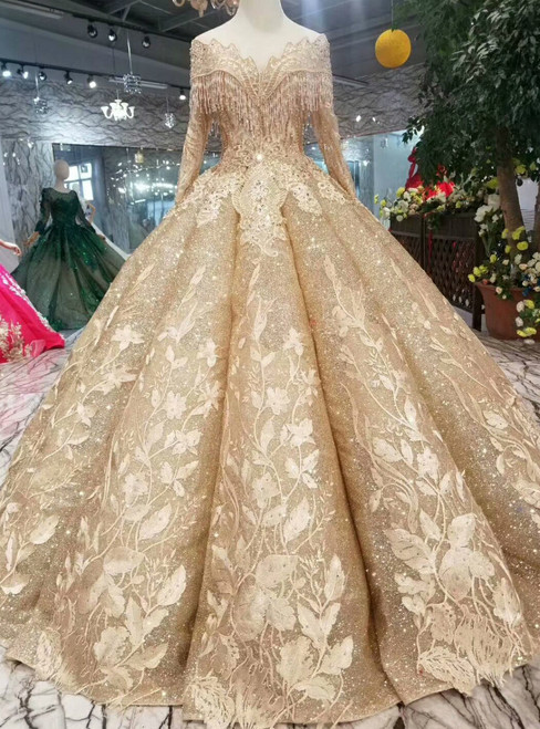 Gold Ball Gown Sequins Bateau Long Sleeve Appliques Wedding Dress