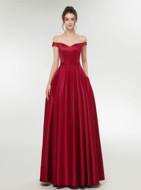 A-Line Burgundy Satin Off The Shoulder Long Prom Dress With Pocket