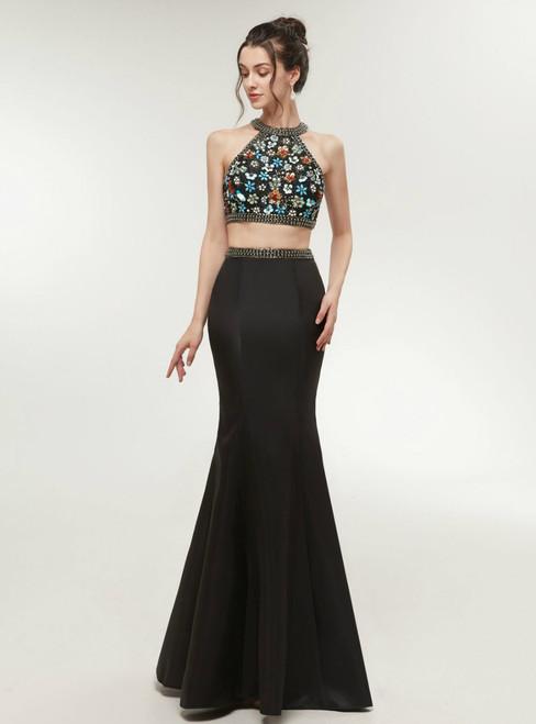 Black Mermaid Two Piece Halter Backless Beading Prom Dress