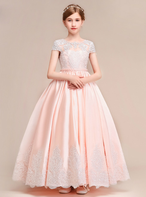 A-Line Pink Satin Lace Scoop Cap Sleeve Flower Girl Dress