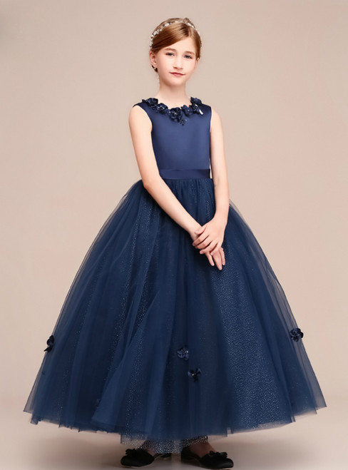 A-Line Navy Blue Tulle Scoop Sleeveless Appliques Flower Girl Dress
