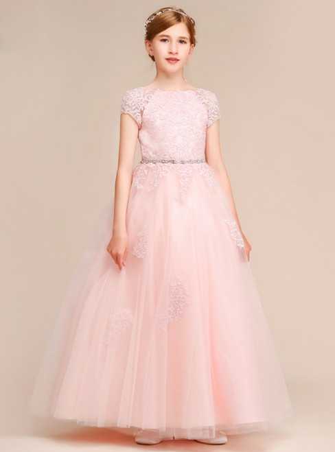 A-Line Pink Tulle Lace Cap Sleeve Backless Flower Girl Dress With Beading
