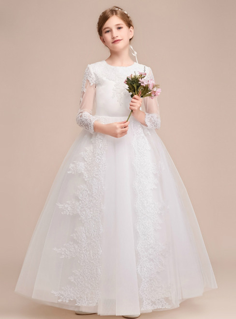 A-Line White Tulle Lace Appliques Long Sleeve Flower Girl Dress