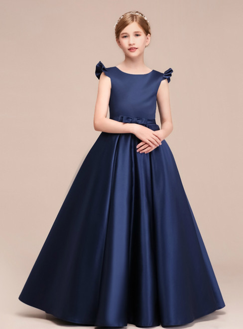A-Line Navy Blue Satin Floor Length Flower Girl Dress With Bow
