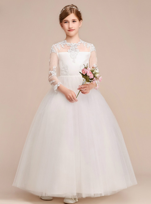 A-Line White Tulle Lace Appliques Scoop Long Sleeve Flower Girl Dress