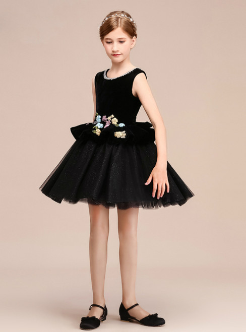 A-Line Black Tulle Velvet Appliques Short Flower Girl Dress