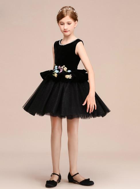A-Line Black Tulle Velvet Appliques Short Flower Girl Dress