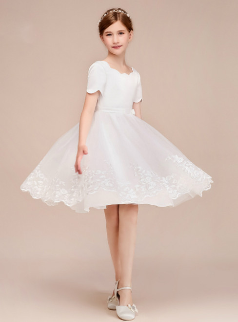 a5c7c704be3 A-Line White Tulle Satin Lace Short Sleeve Knee Length Flower Girl Dress