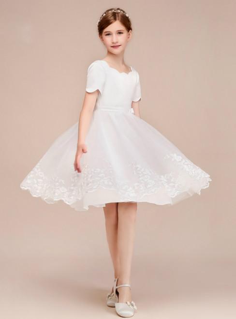 A-Line White Tulle Satin Lace Short Sleeve Knee Length Flower Girl Dress