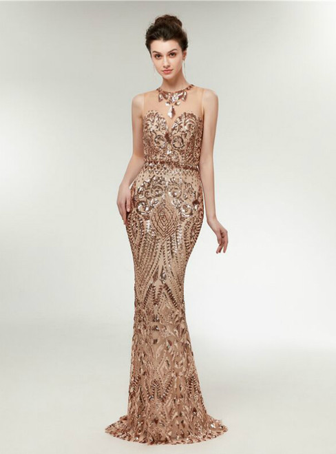 Gold Sequins Mermaid Sleeveless Floor Length Prom Dress