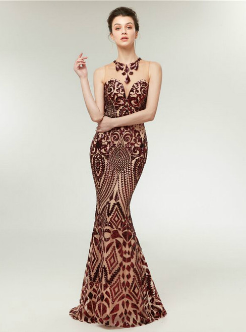 Sexy Burgundy Mermaid Sequins Backless Long Prom Dress