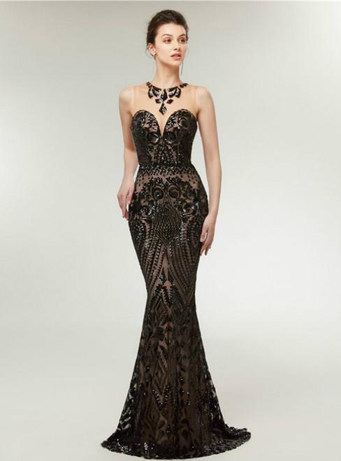Black Mermaid Sequins Scoop Sleeveless Long Prom Dress