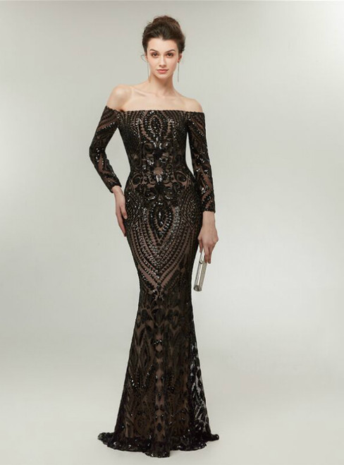 Black Mermaid Sequins Off The Shoulder Long Sleeve Prom Dress
