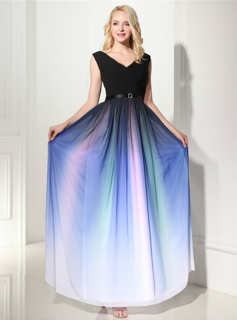 Blue Gradual Change Color Chiffon V-neck Pleats Long Prom Dress