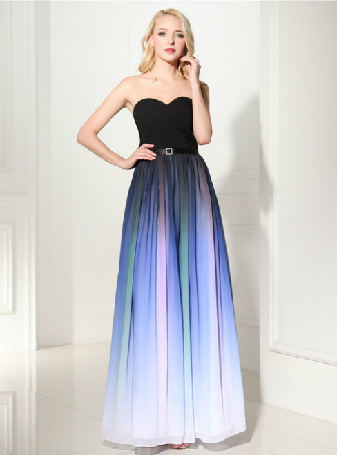 Blue Gradual Change Color Chiffon Sweetheart Pleats Prom Dress