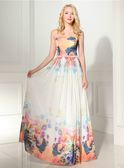 A-Line Print Sweetheart Neck Pleats Long Prom Dress