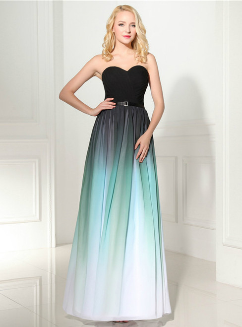 Green Gradual Change Color Chiffon Sweetheart Neck Pleats Prom Dress