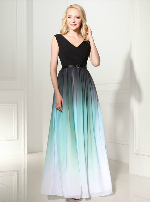 Green Gradual Change Color Chiffon V-neck Long Prom Dress