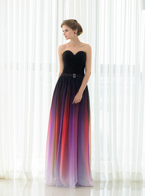 Red Gradual Change Color Chiffon Sweetheart Neck Pleats Prom Dress
