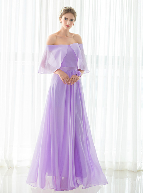 Simple Light Purple Chiffon Off The Shoulder Long Bridesmaid Dress