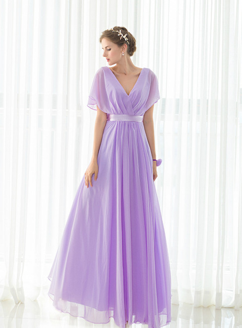 Light Purple Chiffon V-neck Backless Pleats Long Bridesmaid Dress