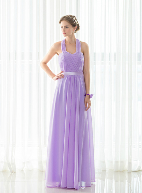 Light Purple Halter Chiffon Backless Pleats Long Bridesmaid Dress