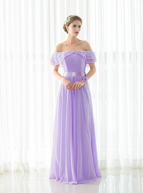 4cceabb28da1 Light Purple Chiffon Off The Shoulder Long Bridesmaid Dress