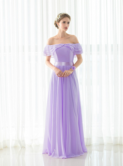 Light Purple Chiffon Off The Shoulder Long Bridesmaid Dress