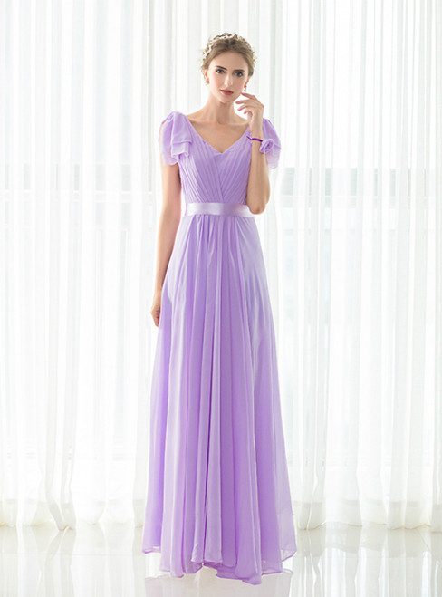 Light Purple A-Line V-neck Pleats Floor Length Bridesmaid Dress