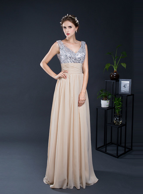 A-Line Champagne Chiffon Sequins V-neck Bridesmaid Dress