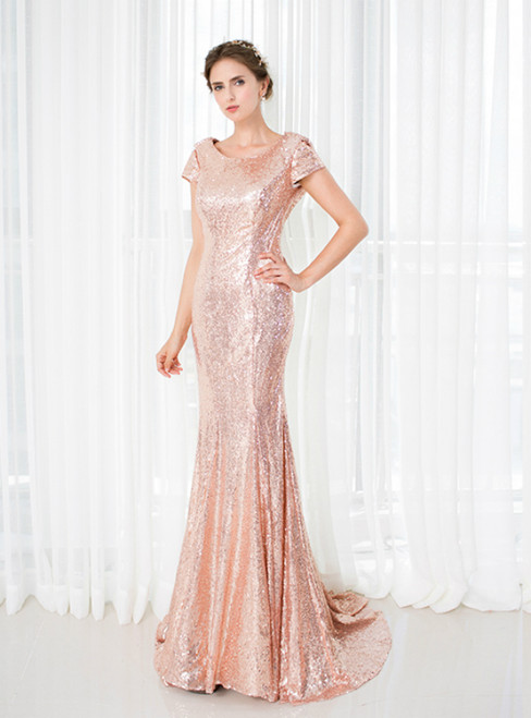Pink Mermaid Sequins Cap Sleeve Backless Long Bridesmaid Dress