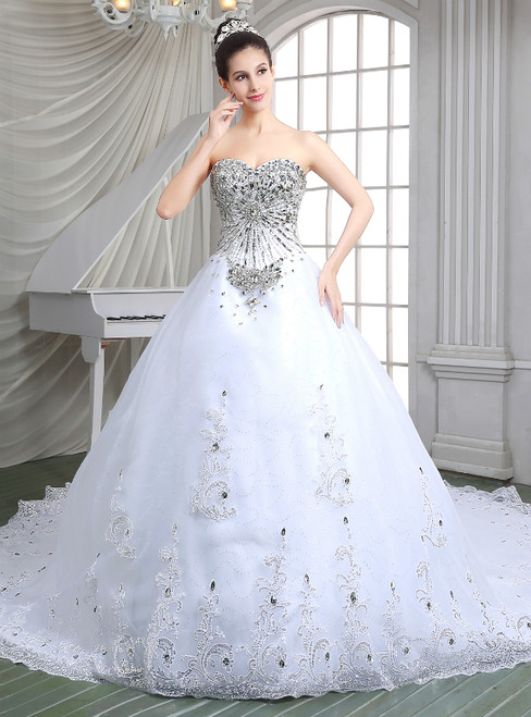 White Ball Gown Tulle Sweetheart Lace Appliques Wedding Dress With Crystal