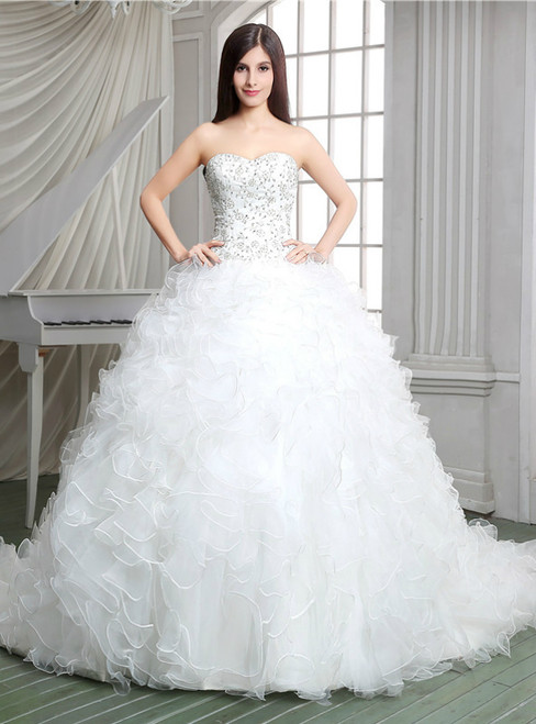 White Ball Gown Organza Sweetheart Ruffle Wedding Dress With Beading