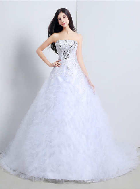 White Ball Gown Tulle Strapless Wedding Dress With Beading Crystal