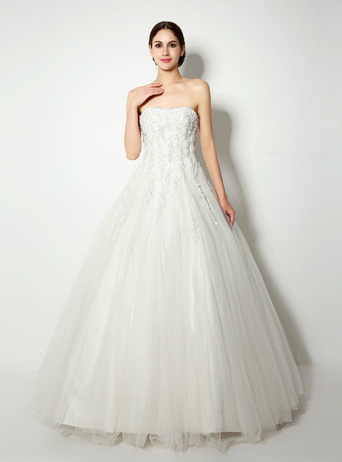 White Ball Gown Tulle Strapless Appliques Long Wedding Dress