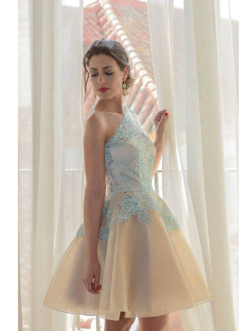 One Shoulder Blue Lace Homecoming Dress Sweetheart Backless Homecoming Dress