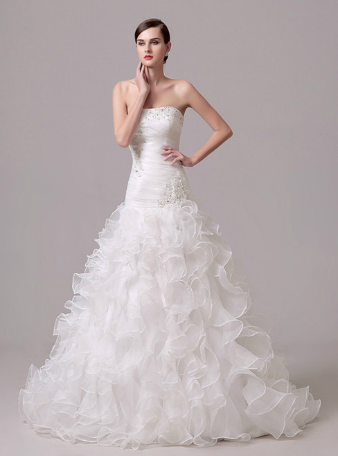 White Mermaid Organza Sweetheart Pleats Wedding Dress With Beading