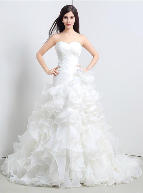 White Mermaid Organza Sweetheart Neck Ruffle Pleats Wedding Dress