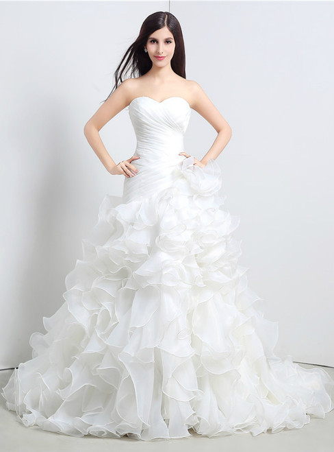 White Mermaid Organza Sweetheart Neck Ruffle Pleats Wedding Dress