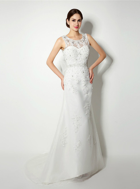 White Mermaid Tulle Lace Appliques Backless Wedding Dress With Beading Pearls