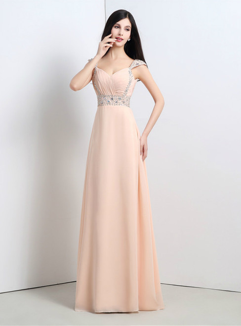 A-Line Pink Chiffon Sweetheart Backless Long Prom Dress With Beading
