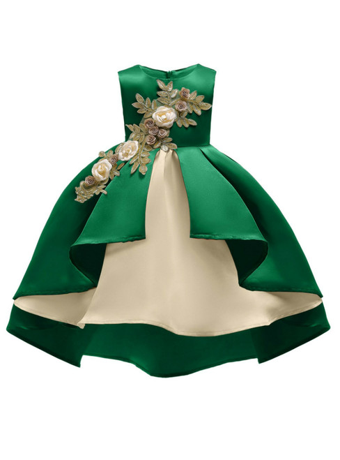 In Stock:Ship in 48 Hours Green Satin Appliques Girl Princess Dresses