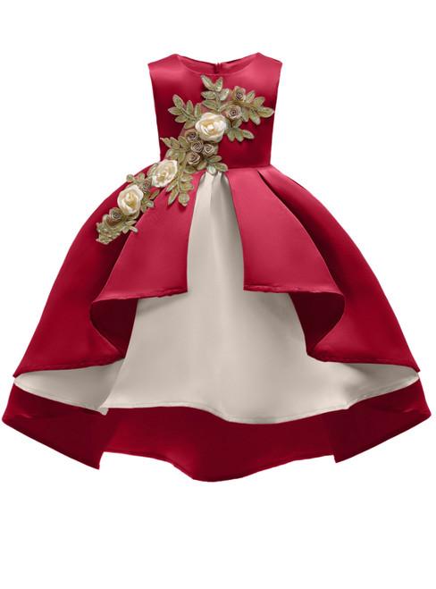 In Stock:Ship in 48 Hours Burgundy Satin Appliques Girl Princess Dresses