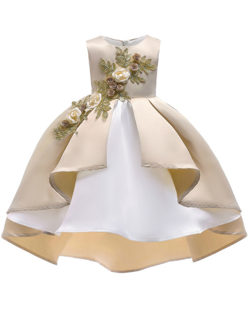 In Stock:Ship in 48 Hours Champagne Satin Appliques Girl Princess Dresses