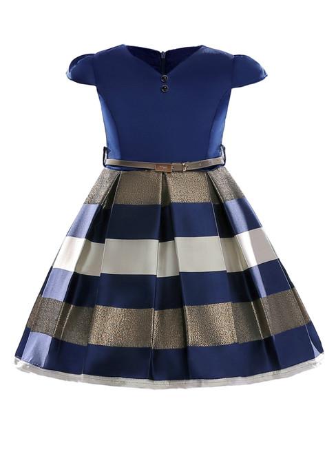 In Stock:Ship in 48 Hours Blue V-neck Satin Cap Sleeve Flower Girl Dress