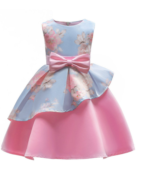 In Stock:Ship in 48 Hours Blue And Pink Satin Flower Girl Dress With Bow