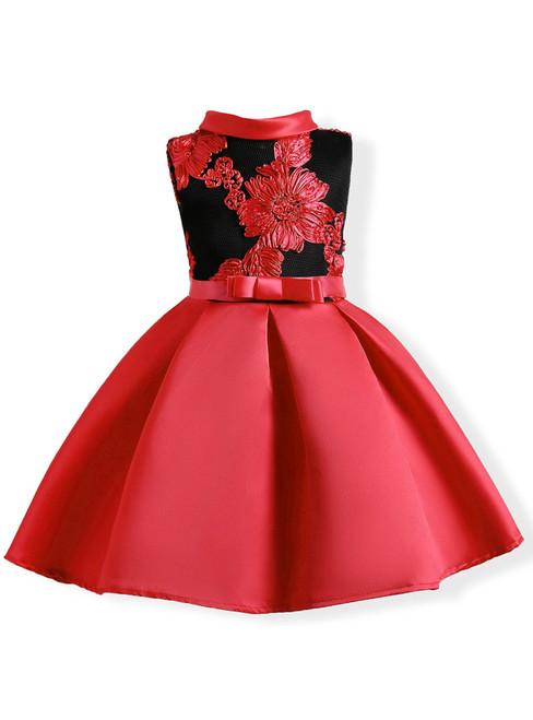 In Stock:Ship in 48 Hours Red Satin High Neck Flower Girl Dress